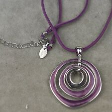 Lia sophia jewelry purple leather chain enamel pendant texture free shipping