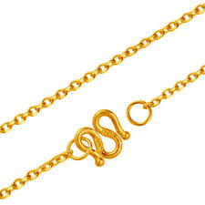18 INCH Pure 24K Yellow Gold Necklace Women's O Chain 5.1-5.5g
