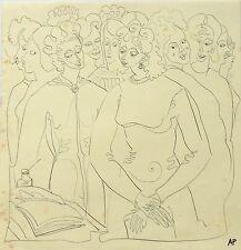 """Audrey Pilkington (1922-2015) """"The Marriage"""" pen & ink 1940s/50s"""