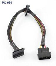 """12"""" 4-Pin Molex Male to 2 SATA 15-Pin Power Connectors"""