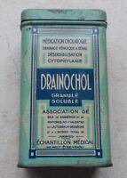 Ancienne Boite Metal Tole Drainochol Granulé Soluble Échantillon Médical #2