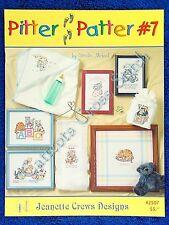 Cross Stitch Pattern Pitter Patter #7 Baby Kitten Designs Boy Girl Birth Sampler