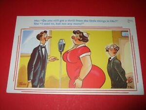 Seaside COMIC postcard FAT LADY BIG BUM BBC radio microphone THRILL humour