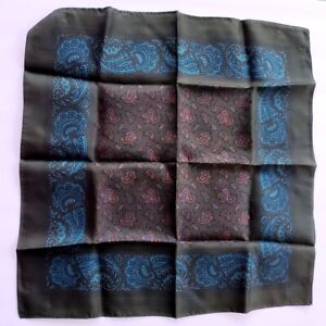 Olive Green and Turquoise Hand Block Printed Silk Pocket Square Made in England