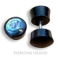 Paar ! Ohrringe Fake Flesh Tunnel Geschraubt Horn Abalone Plug Piercing F045
