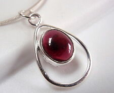 Garnet Pendant Cabochon Oval in Hoop 925 Sterling Silver New