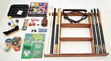 Billiard Accessory Kit - Pool Table Deluxe Pool Cue Sticks Rack Bridge Ball Sets