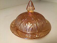 Vintage Depression Glass Jeanette Marigold Iris & Herringbone Round Butter Dish
