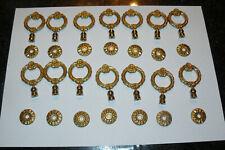 14 Anneaux poignée de tiroir ancien doré