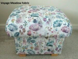 Voyage Meadow Lilac Fabric Footstool Footstall Pouffe Floral Purple Pink Blue