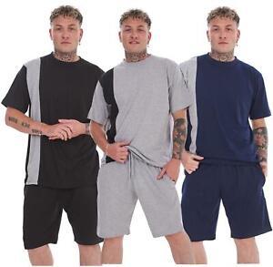 Jersey Pyjama Set Short Round Neck Cotton Blend Loungewear T-Shirt Men Nightwear