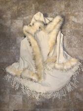 Women's Faux Fur Vest Size L/XL Hooded & Has Dangly Design On Bottom Light Ivory