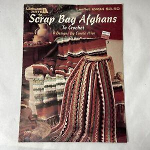 Leisure Arts Crochet Pattern Leaflet 2494 Scrap Bag Afghans to Crochet VTG 1993