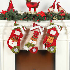 Christmas Stocking Family Set 3 Pack Santa Snowman Deer Sack Stockings