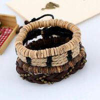 Multilayer Braided Leather Hemp Rope Bead Bangle Bracelet Weave Wristband Set