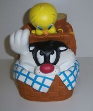 Warner Bros. Tweety and Sylvester in Picnic Basket Vinyl Coin Bank - 1999 Htf