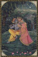 Krishna Radha Miniature Folk Art Handmade Hindu Religious Ethnic Decor Painting