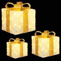 Premier Set of 3 Glitter LED Light up Christmas Parcels - Cream & Gold