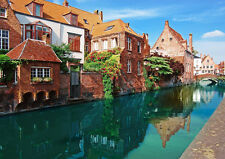 CANAL HOUSES BRUGES BELGIUM NEW A4 POSTER GLOSS PRINT LAMINATED