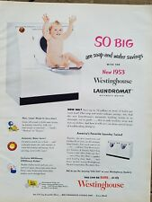 1952 Westinghouse laundromat automatic washer dryer chubby baby sitting door ad