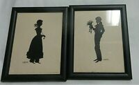 """VINTAGE Black  FRAMED  PAIR SILHOUETTE PICTURES Young Boy and Girl   6.5"""" X 5.5"""""""