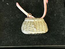 "Fishing Basket TG22 English Pewter On a 18"" Pink Cord Necklace"