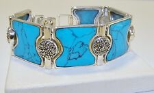 GENUINE! Arizona Turquoise & Swiss Marcasite, Bracelet Solid Sterling Silver 925