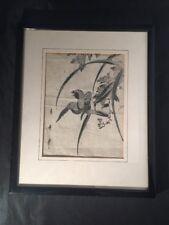 Vintage Antique Japanese Wood Block Imprimé Oiseau et Fleurs personnage Marks