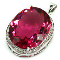 25x20mm Big Gemstone 22x18mm Pink Tourmaline CZ Gift For Sister Silver Pendant