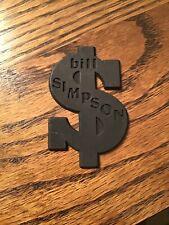 Vintage Bill Simpson Car Dealer Dealership Plastic Emblem (Dollar $ Shape)