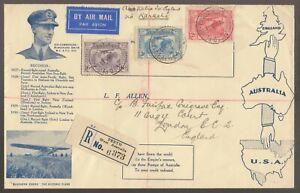 SCARCE 1931 Australia KINGSFORD SMITH Registered Flight Cover