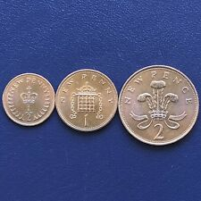 """BRITAIN'S FIRST DECIMAL COIN 1971,1NEW PENNY 1971,1/2 NEW PENNY 1971 """"UNC"""""""