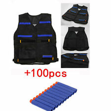 Tactical Vest with Storage Pocket +100pcs Refill Gun Bullet for NERF N-Strike