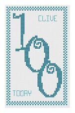 100th Anniversaire Bleu Kit de cartes de point de croix par florashell