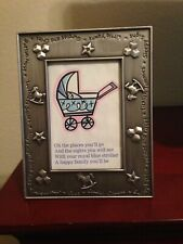 Silver Metal Baby Picture Frame - Sayings on Border - 5 1/2 x 7 inch size