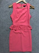 TOPSHOP Dress Pink Peplum Sheath Ruffle Cocktail Party Sleeveless Women's sz 2