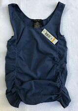 Laundry By Shelli Segal Deep Sea Blue Tank Top With Side Ruching Sz S/M NWT