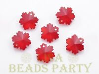 New 10pcs 14X7mm Snowflake Faceted Glass Pendant Loose Spacer Beads Red