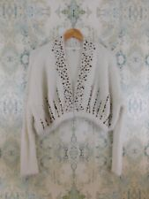 NWT Anthropologie Knitted and Knotted Ivory Embellished Sequin Shrug Cardigan M