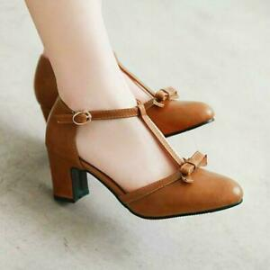 Womens T-Strap Bowknot Chunky Heels Buckle Sandals Party Pumps Shoes