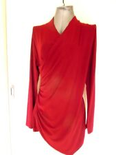BOO RADLEY   Burgundy  CROSS-OVER FRONT   Long Sleeve TOP    *LARGE    LINEN MIX