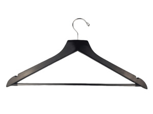 BULK Standard Wood Clothes Hanger 14mm - Black x 100 | Hotel Motel Bnb