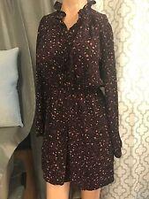Ann Taylor Loft CANIMAL  Print Ruffle Collar Shirt Dress Sz 2