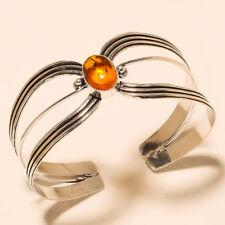 Silver Overlay Cuff Bracelet Bangel Amber Handmade Jewelry