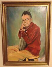 "Vintage ""Self"" Portrait Painting Listed Lewis C Barbour ? Man with Banjo Framed"