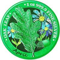 Germania 2019 5 Mark Oak Leaf - 12 Months Series - April - 1 Oz Silbermünze