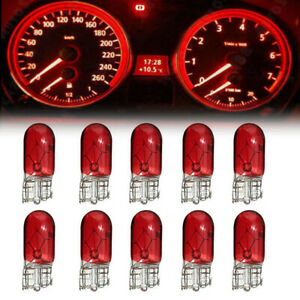 10x Red T10 168 W5W Sidelight Dashboard Instrument Panel Front Headlight Bulbs