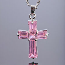 Cross Cut Pink Sapphire 18K White Gold Plated Pendant Necklace