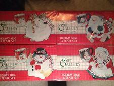 Fitz and Floyd Holiday Mug and Plate 4 Sets Santa Mrs Claus Snowman Reindeer Nib