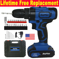 21V Cordless Drill Driver Set Electric Screwdriver Fast Charge & Li-Ion Battery